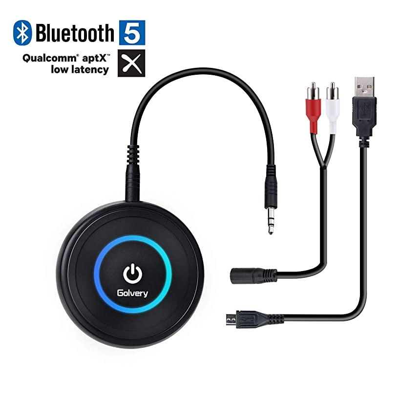 Golvery Bluetooth 5.0 Transmitter and Receiver - 2 in 1 Wireless 3.5mm Aux Bluetooth Audio Adapter - aptX Low Latency, Enjoy HiFi Music - for Home TV, PC, Headphones, Speakers & Car Stereo System