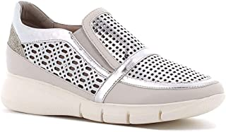 Fiorella Made in Italy Donna Sneakers Slip-on Traforate (Argento)