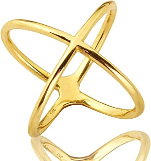 Mr. Bling 10K Yellow Gold Modern Atomic Style X Geometric Design Ring, Available in Sizes 5-9