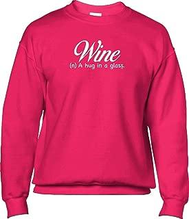 Blittzen Mens Sweatshirt Wine A Hug in A Glass,