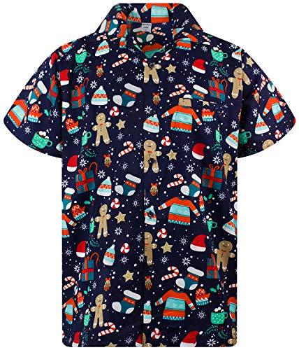 Funky Hawaiian Shirt, Shortsleeve, X-Mas, Christmas Gingerbread, Blue, XL