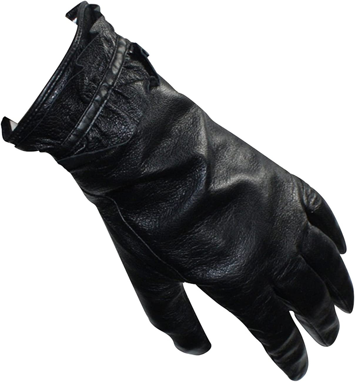 Dahlia Women's Ruffled Edge Soft Lining Leather Gloves - Black