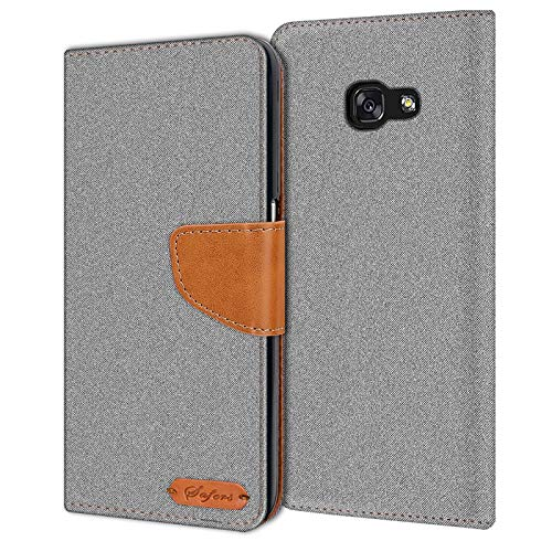 Verco Galaxy A3 Hülle, Schutzhülle für Samsung Galaxy A3 (2017) Tasche Denim Textil Book Hülle Flip Hülle - Klapphülle Grau