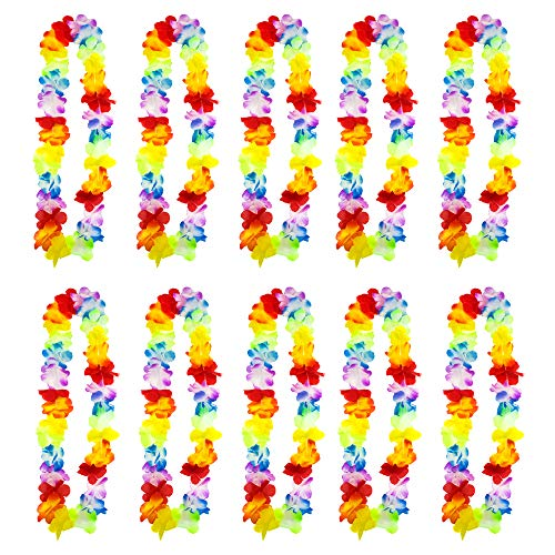 TRIXES 10PC Hawaiian Lei-Flower Garland - Aloha Hawaii Luau - Tropical Floral Necklace - Perfect Prop for Hen & Stag Parties