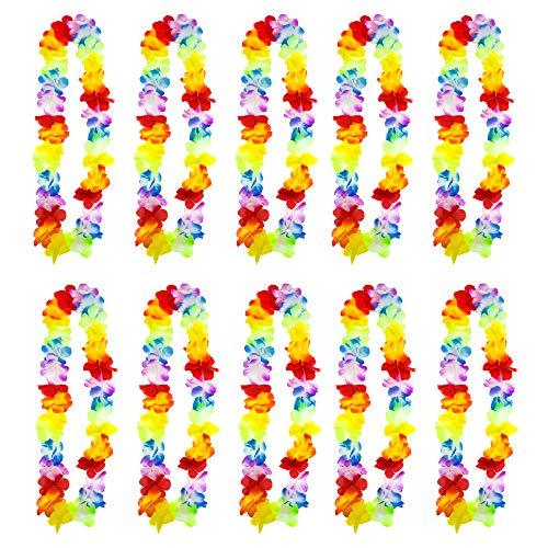 TRIXES 10 PZ Corona di Fiori Hawaiana - Aloha Hawaii Luau - Collana Fiori Tropicali - Oggetto Perfetto per addii Celibato/Nubilato