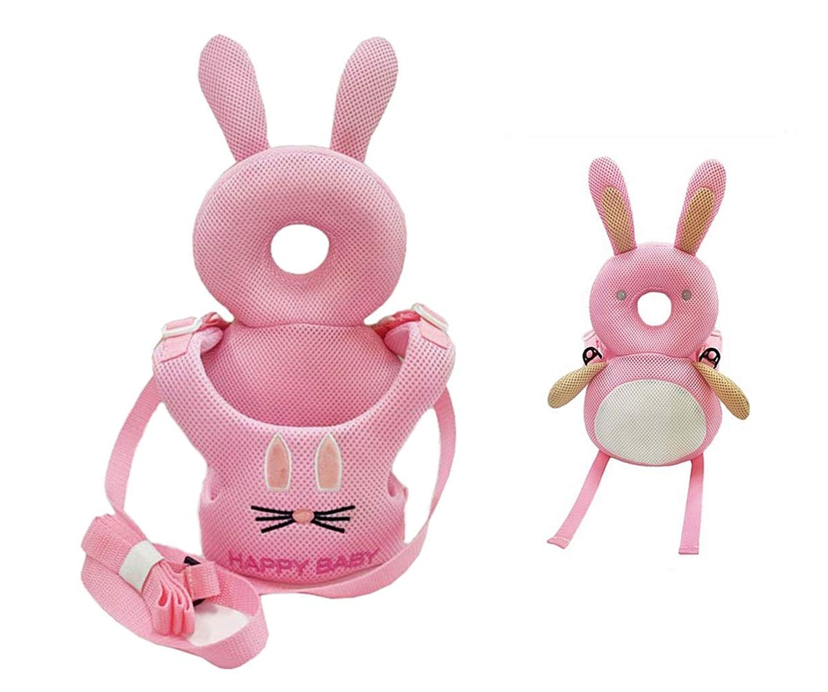 JanLEESi Baby Head Protection Cushion with Anti-Lost Belt Toddler Back Protective Cushion Safety Leash Pad,Rabbit