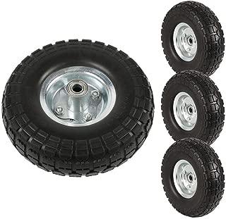 Topeakmart 4Pcs Rubber Solid Rubber Tyre Wheels - Garden Sack Truck Trolley Cart Wheel Barrow Tyre 10-inch Tire Diameter Black