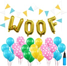 16 Inch WOOF Dog Birthday Decorations Set, 30 PCS Multicolor Latex Balloons 9 Feet Flag Puppy Dog Birthday Decors with Air Pump