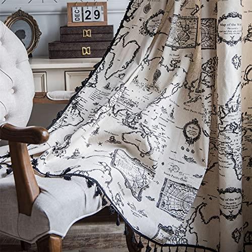 FACWAWF Patrón De Mapa De Ventana Pequeña De Estilo Japonés Borla Negra Ventana Pequeña Cocina Dormitorio Sala De Estar Cortinas De Algodón Y Lino Semi-Sombreado 59x79 Inch(150x200cm)