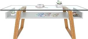 Aspect Jensen Rectangular Mesa de café, Madera, Color Blanco/bambú, 110x 55x 40cm
