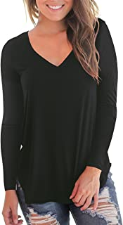 Women's Casual Long Sleeve Solid Soft V-Neck T-Shirt Tops