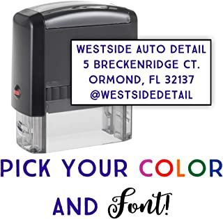 Custom Address Stamp - 3 Line Address Stamp - 20 Font Options - Self-Inking Address Stamp (4 Line Stamp)