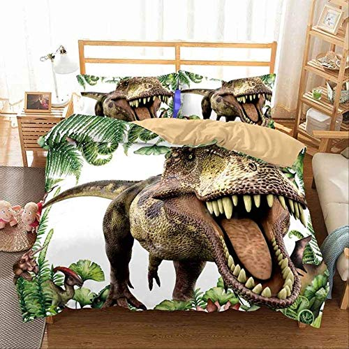 WGLG Double Bedding Duvet Set, 3D Print Animal Scenery Duvet Cover Set And Pillowcase Home Textiles Dinosaurs Bedding Set King Size King Blue