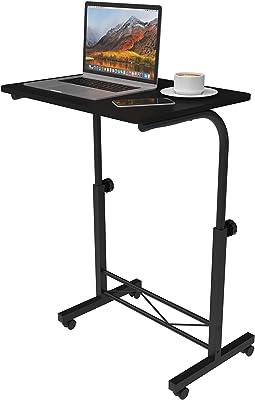 Advwin Mobile Laptop Desk, Adjustable Height Standing Desk Home Office Workstation with Wheels, Portable Computer Desk Cart for Reading, Study, Black