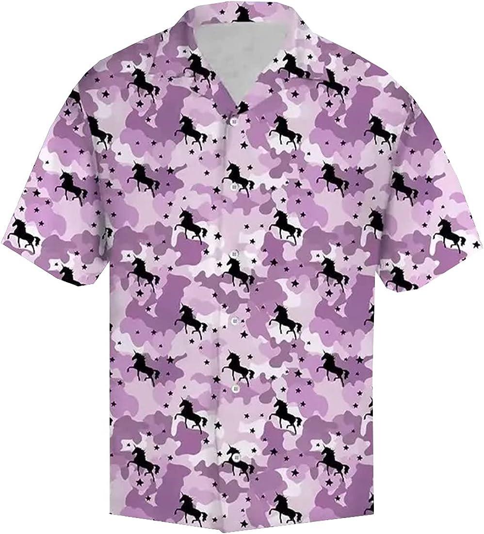 Tropical Unicorn Hawaiian Shirts for Men - Summer Unicorn Button Down Mens Hawaiian Shirts Short Sleeve Series 171