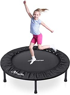 MOVTOTOP Rebounder Trampoline 38 Inch, Folding Indoor Trampolines with Safety Pad, Fun Mini Fitness Trampoline for Indoor/Garden Workout - Max Load 220lbs, Black