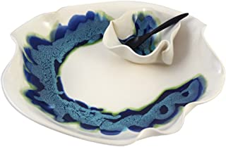Aurora Collection Contemporary Chip and Dip Tray Dish in Blue/White, Handmade Pottery