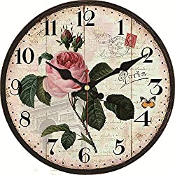 WISKALON 14 Rustic Wall Clock Silent Non-Ticking Quartz Battery Operated Wall Clocks Vintage Arabic Numerals Easy to Read Wooden Decorative Clocks for Home/Office/School - Rose and Butterfly