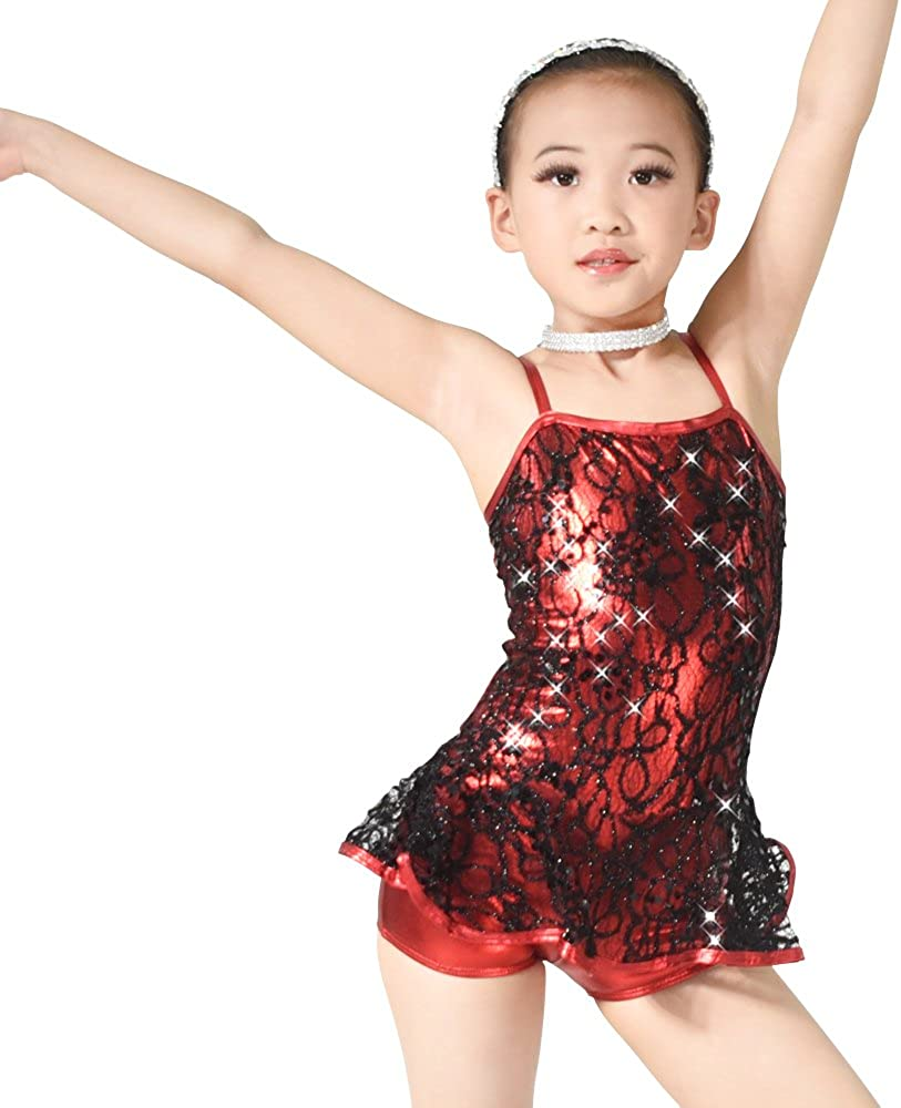 MiDee Dance Costume Jazz Tap Sequins Over Foiled Girl Lace for OFFicial Chicago Mall site