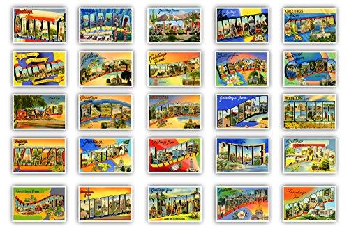 Grüße aus amerikanischer Staaten Vintage Nachdrucke (ca. 1930–1940's),-Postkarten-Set von 50Postkarten. Große Buchstabe Namen jeder USA State Karte Variety Pack. Hergestellt in den USA.