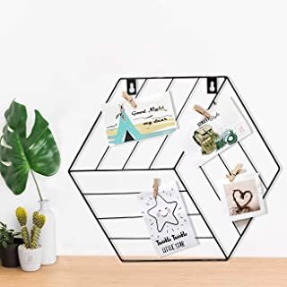Art Street Hexagon Shape DIY Metal Photo Grid Wall for Photo Hanging, Wall Decoration and Display (Size- 35 x 40 cm) -Phot...
