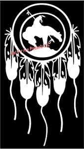 Just For Fun 7 x 3.75 Dreamcatcher Last Ride Indian on Horse with Feathers Vinyl Die Cut Decal Bumper Sticker, Native American, Windows, Cars, Trucks, laptops, etc