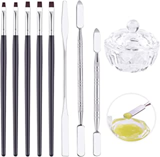WXJ13 Nail Dappen Dish with Lid Glass Crystal Dish for Liquid and Powder with Nail Art Brush and Tool