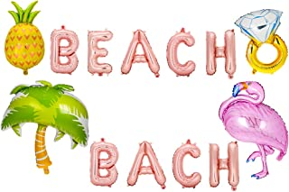 BKpearl 5 Set Beach Bach Balloons, Hawaii Luau Flamingo Pineapple Ring Palm Tree Tropical Summer Party Decorations Bachelorette Party Decorations