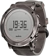 SUUNTO SS021216000 Unisex Essential Steel Digital Display Outdoor Watch, Black Leather Band, Round 49.1mm Case