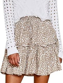 Polka Dot Ruffle Short Skirt Women Boho A-line Skater Mini Party Skirts