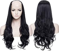 SEGO U Part Half Wig Clip in Hair Extensions One Piece Wavy Half Head U Shape Half Wig Curly Secret Hair Extension Synthetic Heat Resistant Fiber Adjustable Invisible with 7 Clips 24 Inch Dark Black