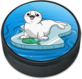 GRAPHICS & MORE Cute Harp Seal Pup on Ice with Fish Ice Hockey Puck