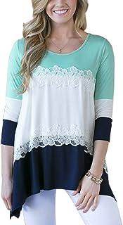 YACUN Women's Half Sleeve Color Block Irregular Casual Shirt