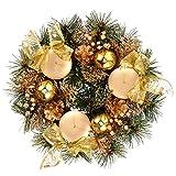 Lurrose Navidad Tradicional Corona de Adviento Piña Calendario de Adviento Temporada Candelabro Centro de Mesa Decoración Decoración de Fiesta de Navidad 22Cm