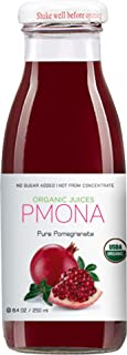 PMONA Organic Pure Pomegranate Juice, 8.4 Ounce Bottle (Pack of 12), Cold Pressed Organic Juice, Non-GMO, No Sugar Added, ...