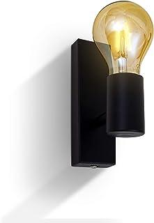 B.K.Licht - Aplique de pared negro para interior, Lámpara de metall, requieren bombilla E27, max. 60 W, 230 V, índice de protección IP20, industrial, retro, vintage, rústico, o incluso nórdico moderno