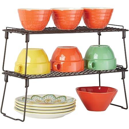 mDesign étagère pour armoire (lot de 2) – étagère en métal pliable pour la cuisine avec pieds retirables – système de rangement moderne pour la vaisselle, les conserves et les épices – couleur bronze