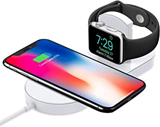 Generic Wireless Charger, 2 in 1 Stand Charging Pad, Fast Receiver Certified Qi Compatible with iPhone Xs/XS Max/XR/X/8 Plus/8, iWatch Series 3/2, Samsung Galaxy Note 8/S8 Plus/S7 Edge