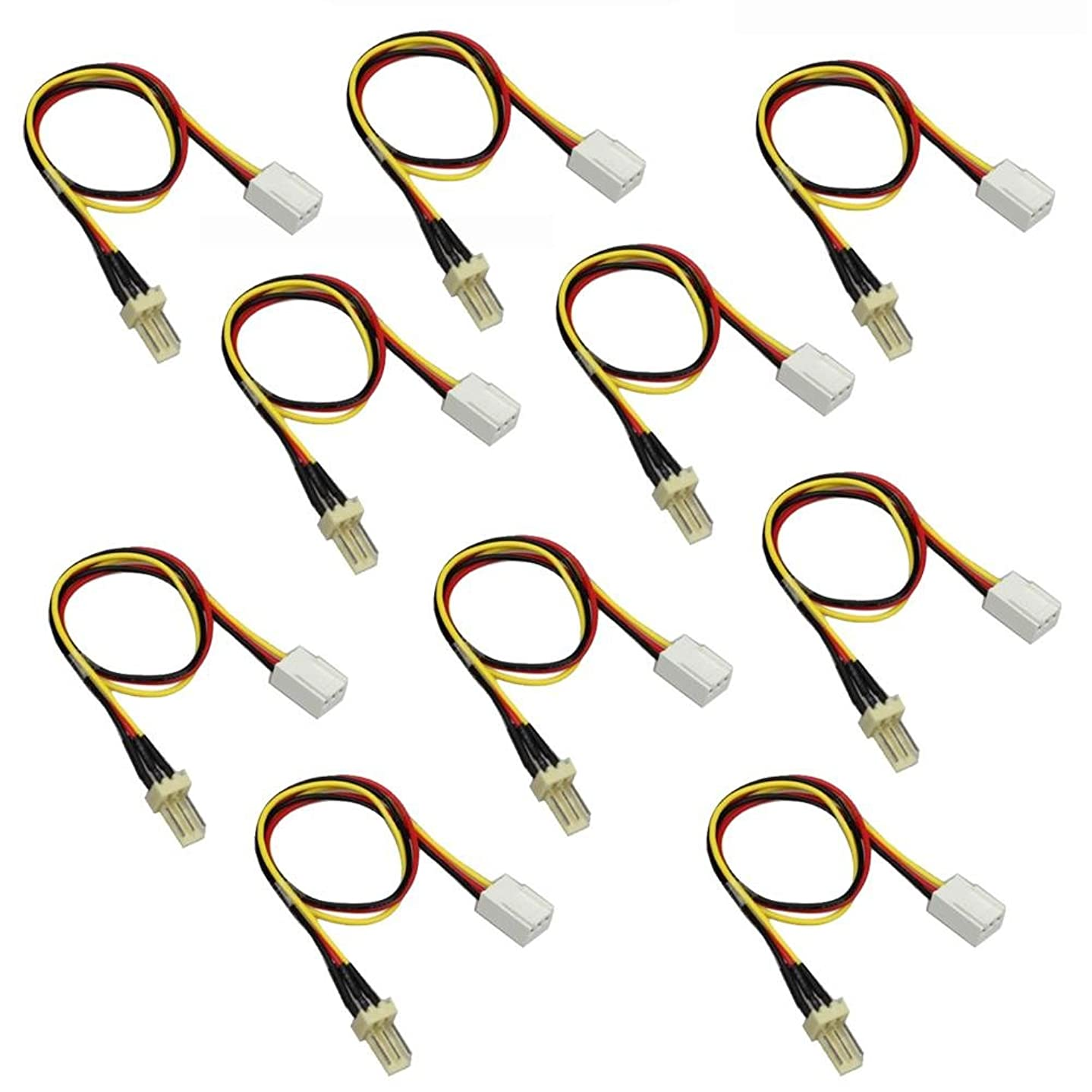 sikiwind 10pcs 3-Pin Male to 3-pin Female PC Fan Power Extension Lengthen Cable 12V