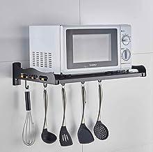 JND Microondas Digitales Horno Cocina del Soporte del Horno de microondas de Montaje en Pared Estante de Acero Inoxidable fácil de Limpiar Fuerte Capacidad de Carga Horno de microondas Manual