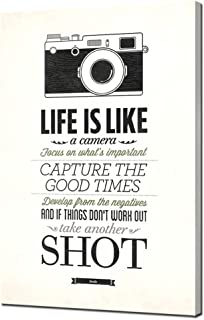 Biuteawal - Inspirational Quotes Canvas Prints Life is Like A Camera Motivational Painting Picture Artwork Black and White Wall Art for Home Office Bedroom Wall Decoration Ready to Hang