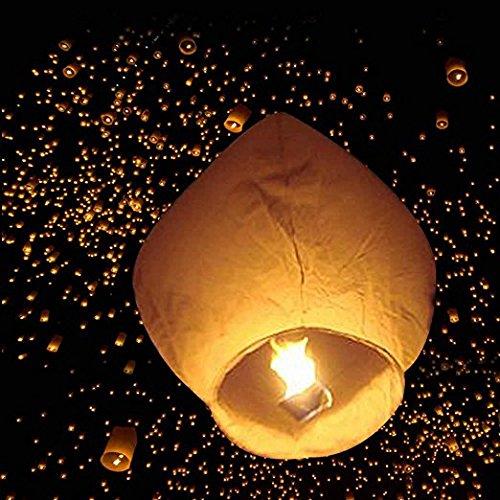Leadzm 50 Pack Fire Sky Lanterns Chinese Paper Sky Flying Wishing Lantern Lamp Candle Party Wedding Wish (Kongming Wish Lanterns) (White)