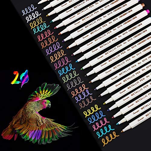 WeyTy Metallic Marker Stifte Set, 20 Farben Premium Metallischen Stift Pens für Kartenherstellung DIY Fotoalbum Gästebuch Hochzeit Papier Glas Kunststoff Stein-Feiner Spitze(1MM)