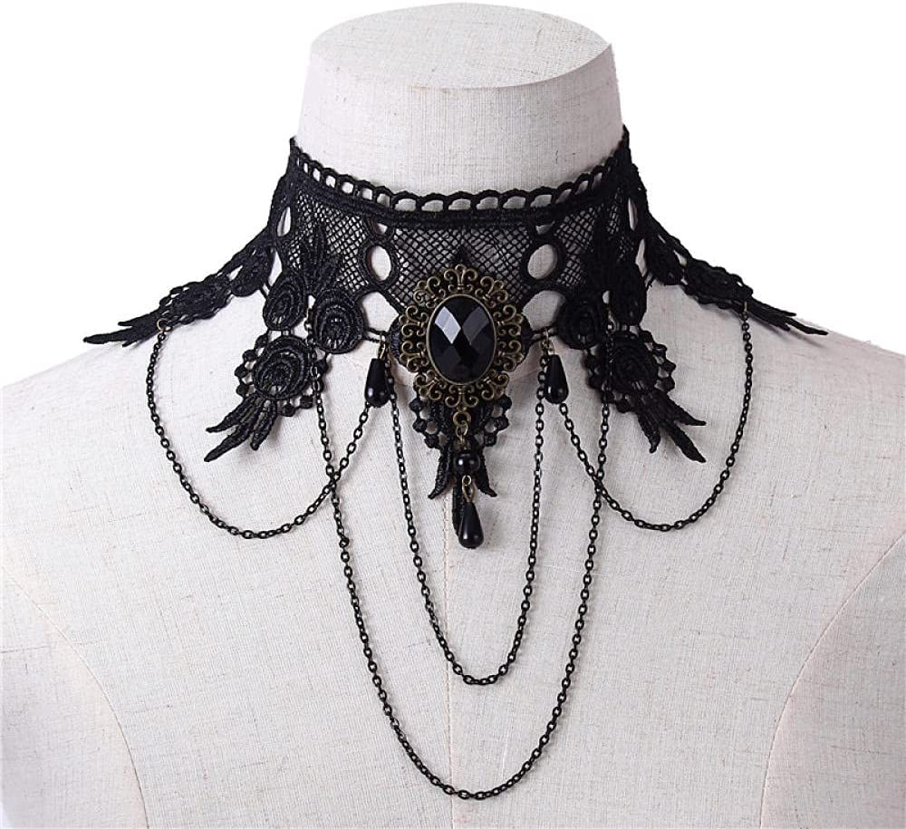 Choker Gothic Dress Accessories Creative Black Lace Gemstone Necklace Pearl Crystal Tassel Wide Necklace Fake Collar