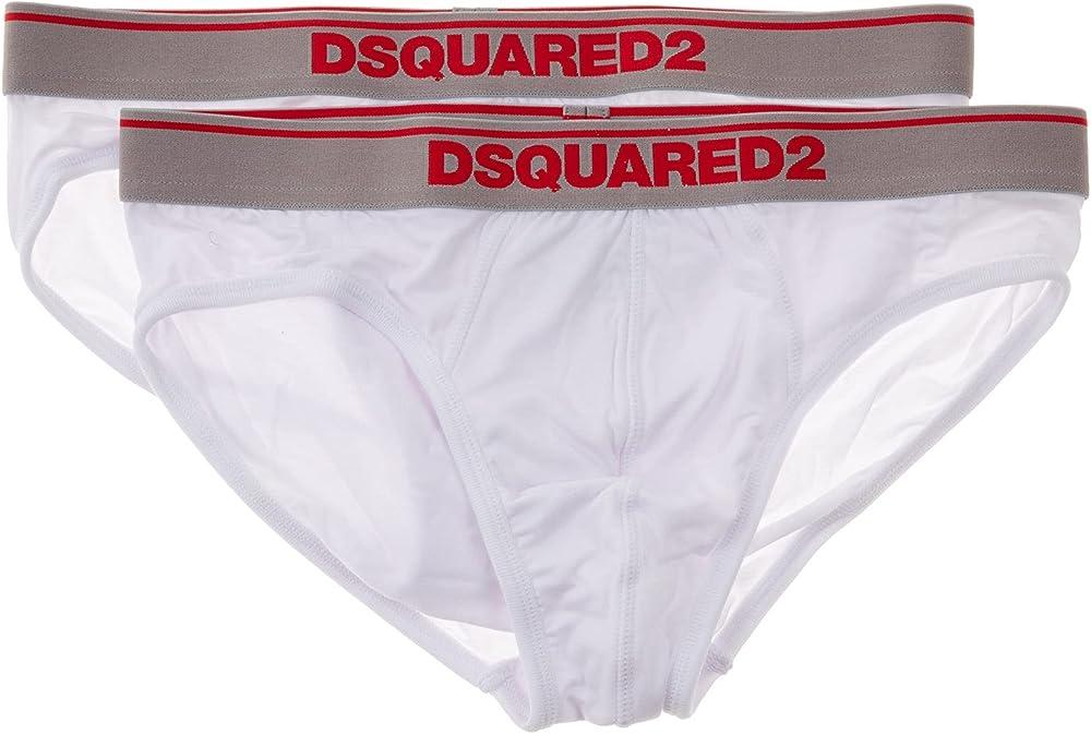 Dsquared2 2 paia di slip mutandine per uomo 95% cotone 5% elastan DCX610050