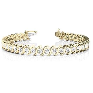 14K Solid Gold Round Diamond S-Link Tennis Bracelet For Women (3.08 Ct), 7-Inch