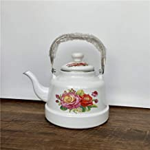 Emaille waterkoker melk theepot, glazuurketel, kleine spiegel glazuur, wit glazuur, oude Bell waterkoker, inductiekookplaa...