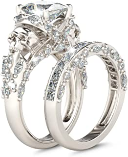 Skull Engagement Ring Sets Sterling Silver Promise...