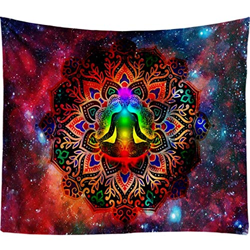 TapizParaColgar,Flor De Mandala India Starry Galaxy 7 Chakra Boho Hippie Arte Rojo Rectángulo Tapiz Chal Toalla De Playa Para Dormitorio Juvenil Decoración De Sala De Estar, 130X150Cm (51.2X59