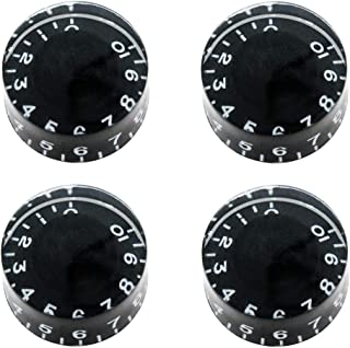 mxuteuk 4pcs Black with White Word Electric Guitar Bass Top Hat Knobs Speed Volume Tone AMP Effect Pedal Control Knobs KNOB-S3